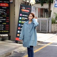 Autumn 2019 New Loose Wool Coat Women Hat Leisure Long Pockets Hooded