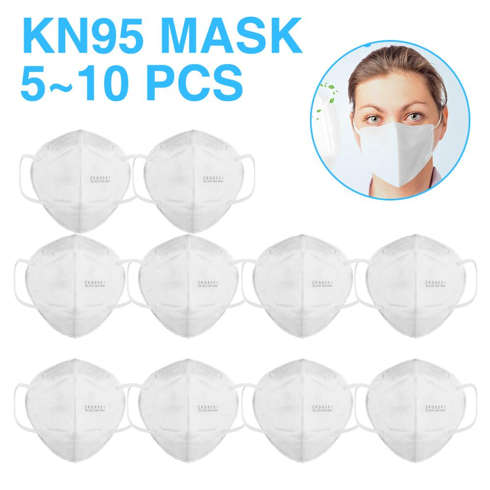 10pcs KN95 Face Mask PM2.5 Particle Filter Respirator Smog Prevention  Prevention Mask Dustproof Protective Safety Mask