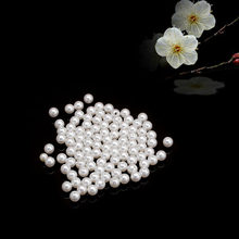 100 Pcs Resin Faux Pearl Round Beads Ivory Imitation Pearl 4-16mm(China)