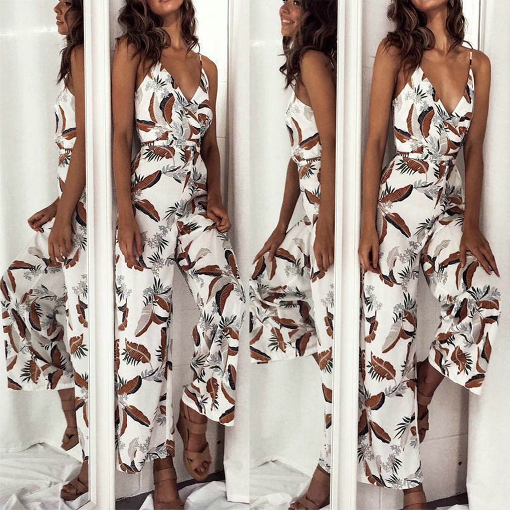 Jumpsuit   summer casual personality sexy style ladies strap V-neck waist leaf print wide leg   jumpsuit   Tuta da donna