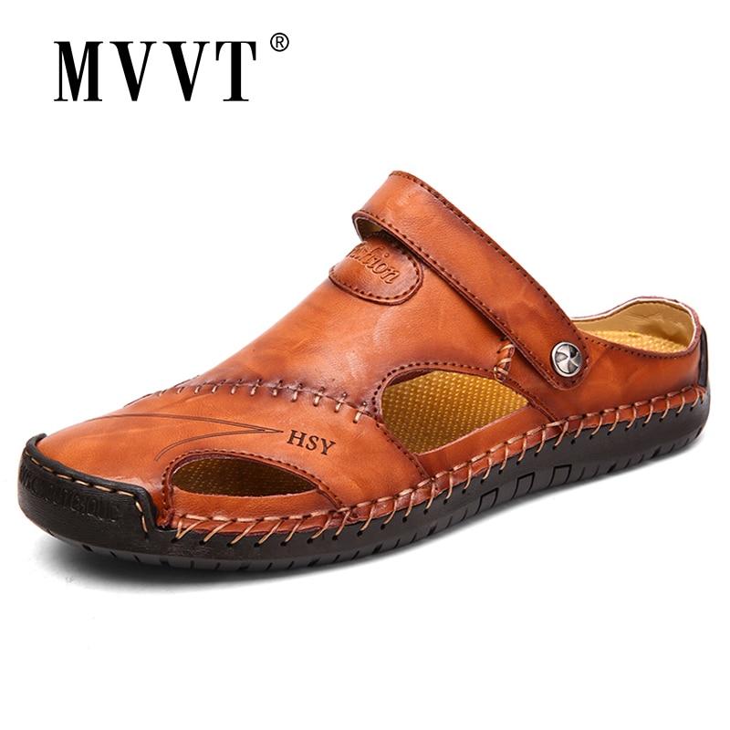 Classic Soft Split Leather Men Sandals Comfortable Slipper Men Summer Shoes Comfort Beach Sandals Outdoor Sneaker Flip Flops