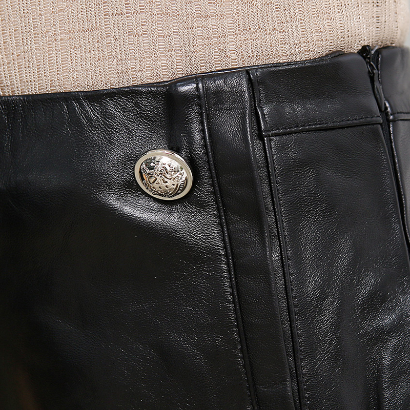 Luxury Brand 100% Real Leather Shorts Wide Leg Shorts Femme Fashion Street Black Slim Sheepskin Ladies Mini Shorts Top Quality