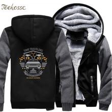 Back to the Future Hoodie Men Movie Hooded Sweatshirt Balck Grey Coat 2018 Winter New Brand Fleece Thick Hip Hop Jacket Homme casual cross at back sleevless hoodie sweatshirt in grey