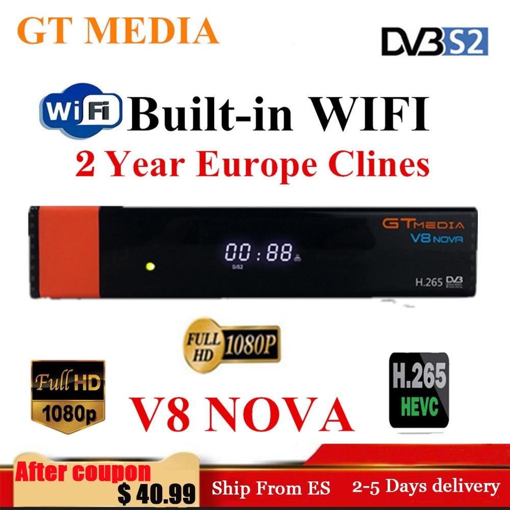 GTMedia V8 Nova Full HD H 265 DVB-S2 decoder Satellite Receiver 2 Year Europe Spain Cccam Cline Same Built Wifi Freesat V9 Super
