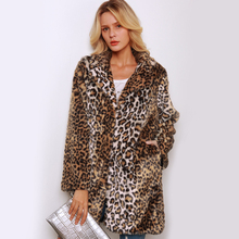 New Leopard Fur Coat Women Winter Thicken Long Trench Coat Elegant Female Faux Fur Overcoat Turn Down Collar Fur Jacket 2C0238 thicken zip up down coat with faux fur hood