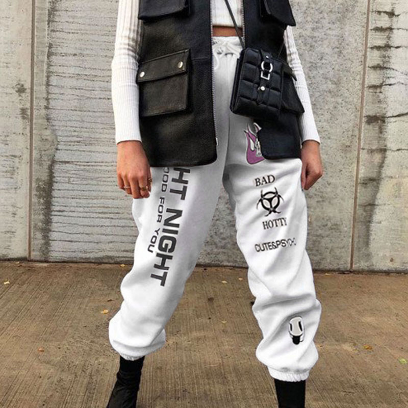 H515c134088f84b449cf99afe113c02f5t - Weekeep Knitted High Waist Printed Ankle Length Sweatpants Women White Streetwear Trousers Women Autumn Winter Fashion Pants
