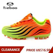 Clearance! TIEBAO Boys Girls AG Sole Football Boots Outdoor Soccer Shoes Athletic Training Sports Football Shoes EU Size 30-35(China)