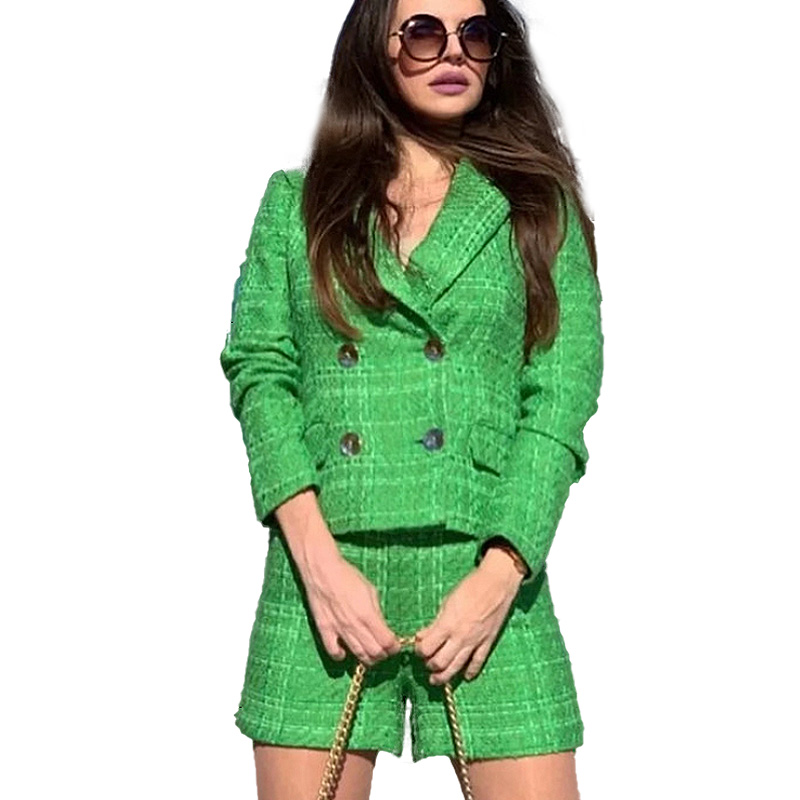 OneBling Za Simple Green Plaid Tweed Notched Double-Breasted Fitted Blazers Female England Style Short Coats Urban Outfits