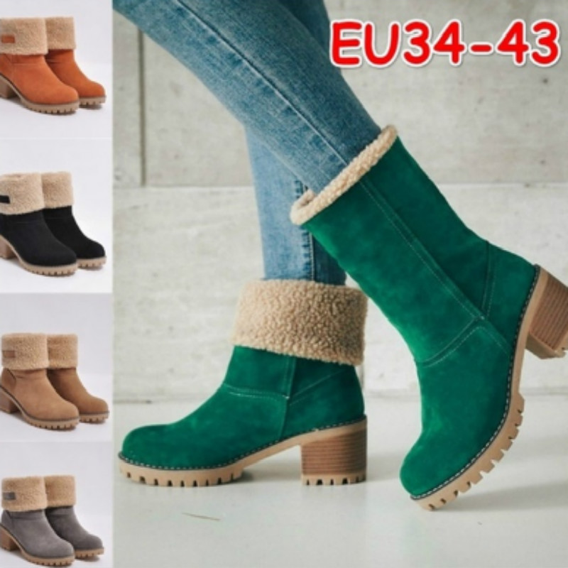 KAMUCC New Women Boots Winter Outdoor Keep Warm Fur Boots Waterproof Women's Snow Boots Thick Heel With Round Head Short Boot