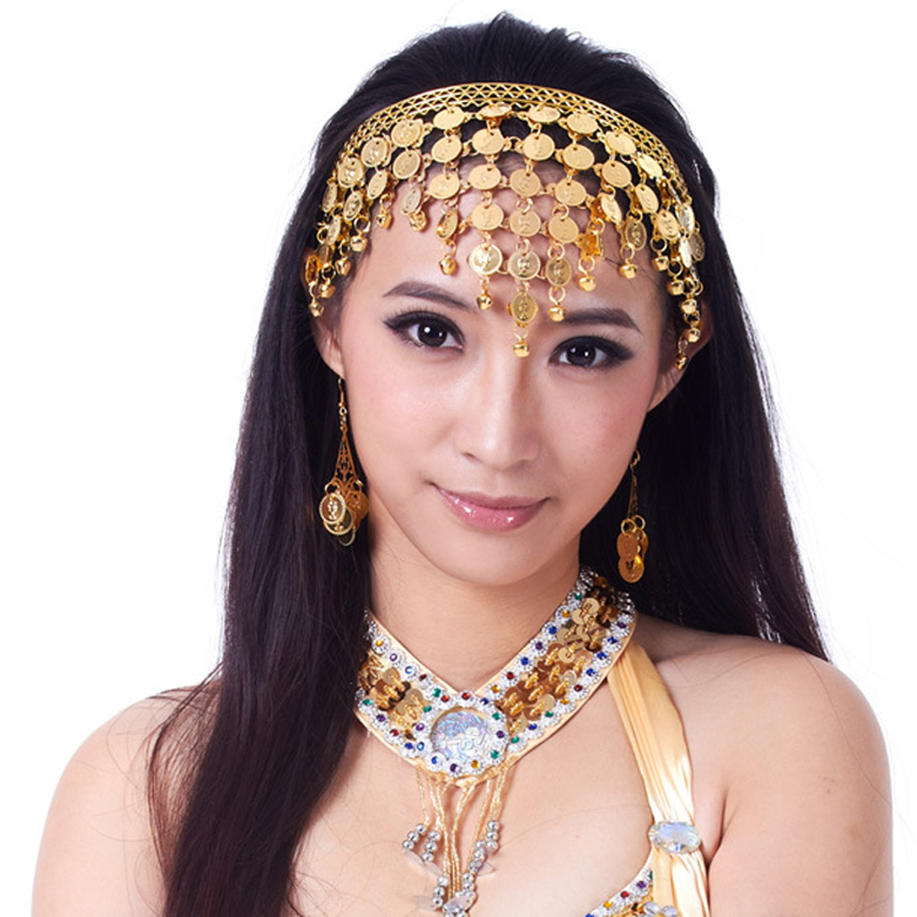Womens Belly Dance Headband Sequins Coins Tassels Headpiece Gypsy Outfit Decor Hair Jewelry Accessories