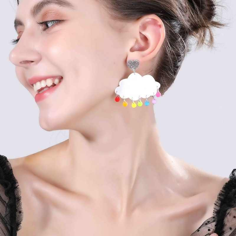 2019 New Fashion Love Heart Cloud Dangle Drop Earrings Cute Candy Color Water Drop Acrylic Earrings for Woman Party Jewelry Gift