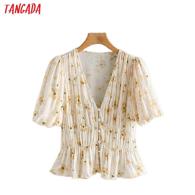 Tangada Women Retro Floral Print Crop Blouse Short Sleeve 2020 Summer Chic Female Pleated V Neck Shirt Tops 2XN181