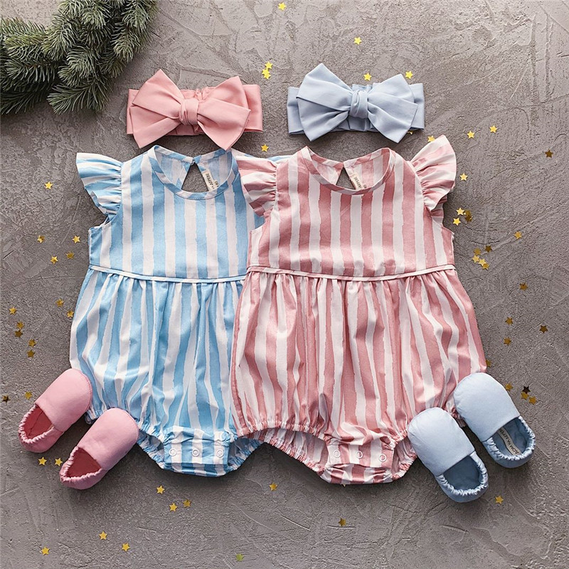 Newborn Baby Jumpsuits Summer Boys Girls Striped Romper For Toddler Infant One-piece 2020 New Sleeveless Kids Baby Romper