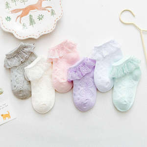 Girls Socks Lace Frilly Ruffles Ankle Kids Cotton Tutu Breathable 0-3Y 5color