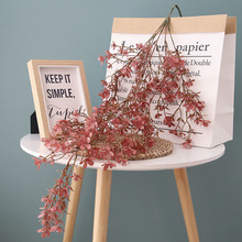 5 Branches Artificial Flower Wall Hanging Fantasy Cherry Rattan Plastic Home Ceiling Wedding Decoration Fake