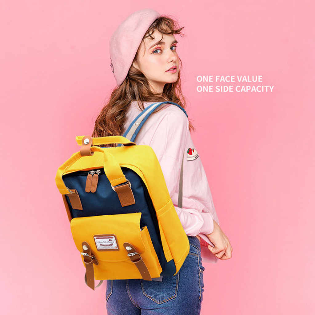 Korean Style Nylon Backpack For Women Simple Fashion Youth Travel Backpack Leisure School Bag Tote For Teen Girl Shoulder Bag 8