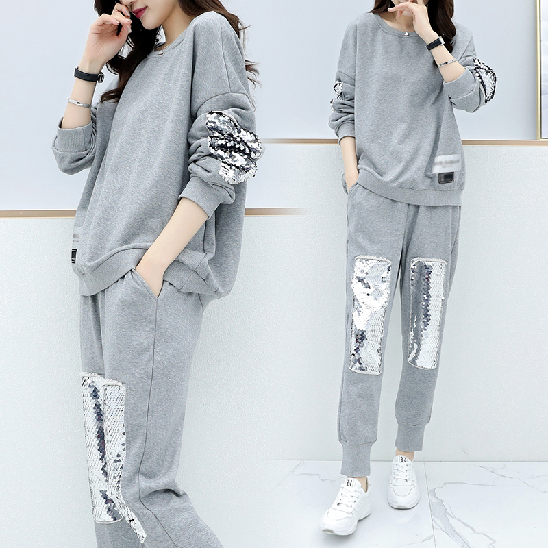 Large Plus Size Women's Sports Suit Fashion Tracksuit Sweatshirt+pant Two Piece Set Top And Pant Sportwear Matching Set Outfit
