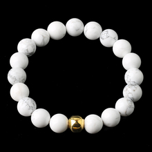 Couple Bracelet White Turquoises Natural Stone Round Beads Chain length 19cm Gold Silver Beads For Men Women 4mm 6mm 8mm 10mm