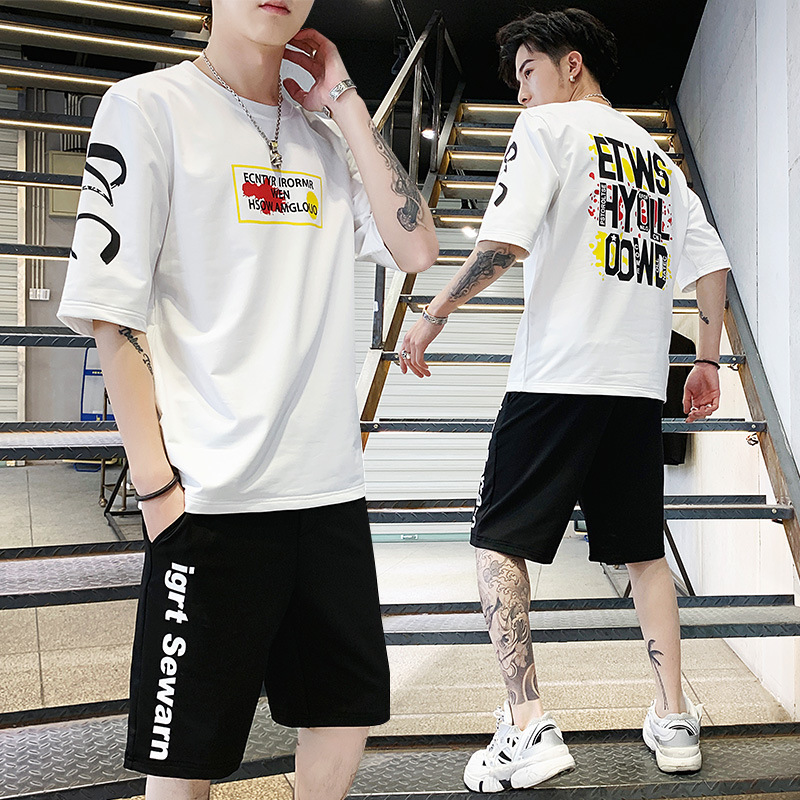 Perth People Summer Set MEN'S Short-sleeved T-shirt Trend Handsome Two-Piece Set Korean-style Printed Short Shorts Sports Clothi