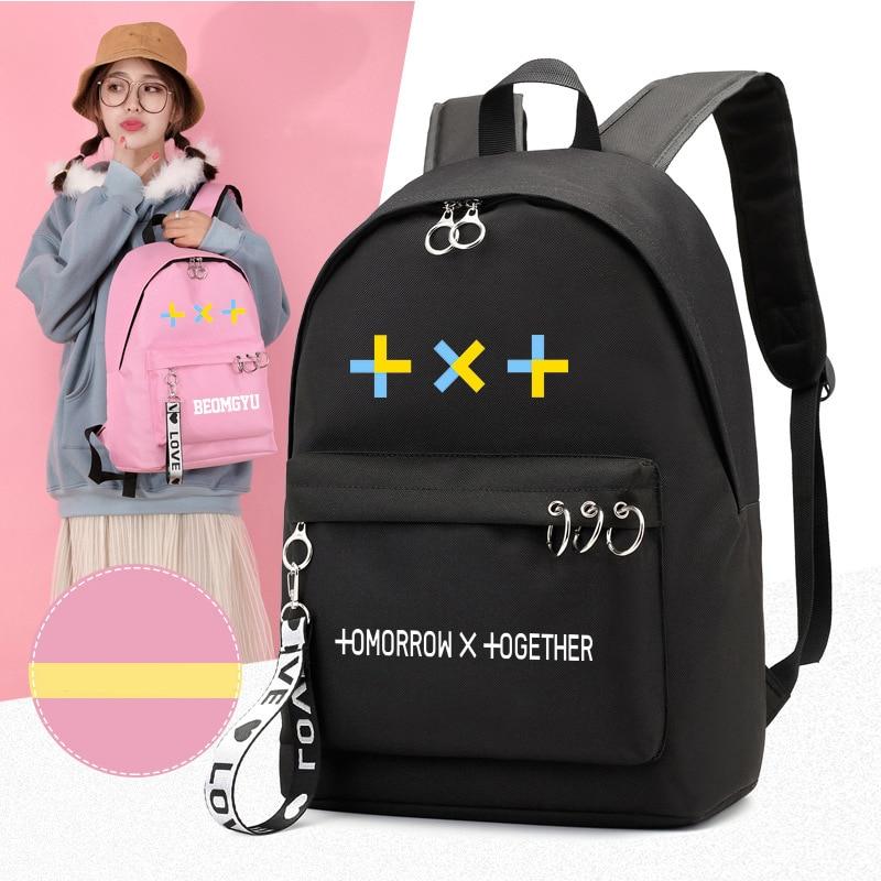 New Kpop Korean TXT Printing Women Backpack School Bags For Teenage Girls Canvas Backpacks Travel Bags Shoulder Laptop Backpacks