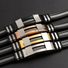 1PC Luxury Stainless Steel Silicon Bracelet Men Wrist Band Cuff Bangle Wristband Male Couple Jewelry Gift Black/Silver/Rose Gold(China)