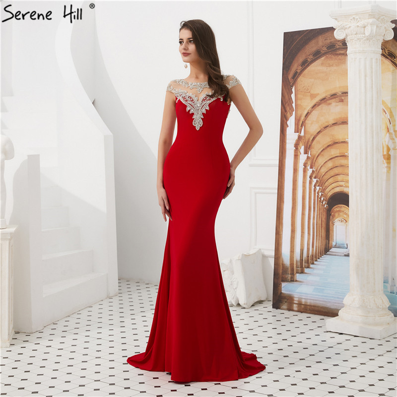 Red O-Neck Sexy Mermaid Prom Dresses 2019 Sleeveless Crystal Beading Formal Gowns Serene Hill LA60782