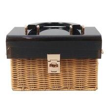 Bolsa de acrílico con tapa con pajita trenzada, bolso tejido con asa de madera, hecho a mano, bolsa de mimbre de viaje para vacaciones