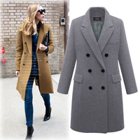 Plus Size 5XL Over Size D Coat Women Winter Warm Thick Double breasted Windproof Coat Slim Fit Long Woolen Coat CH722