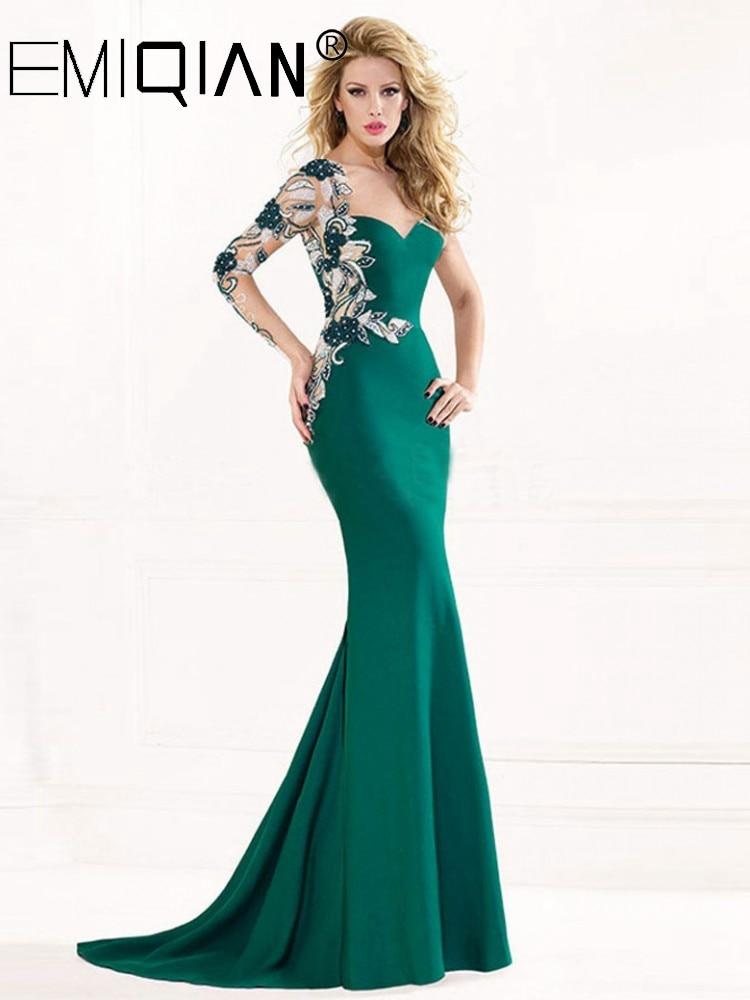 Long Sleeve Sweep Train Applique Crystals Formal Dress Green Mermaid Evening Dresses 1