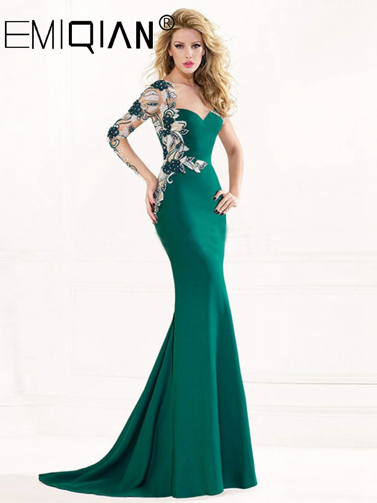 Long Sleeve Sweep Train Applique Crystals Formal Dress Green Mermaid Evening Dresses