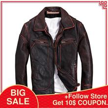 2020 Vintage Red Brown Men American Casual Style Leather Jacket Plus Size 5XL Ge