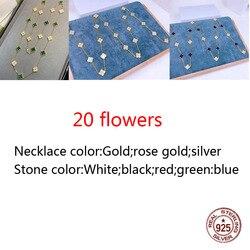 20 цветов, ожерелье из стерлингового серебра 925 пробы, индивидуальный модный стиль, четыре листа, клевер, средний бриллиант, Высококачественн...