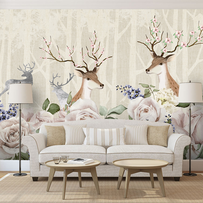 Northern European-Style Mural Living Room Television Background Wall Wallpaper Home Decoration Wallpaper Film And Television Wal