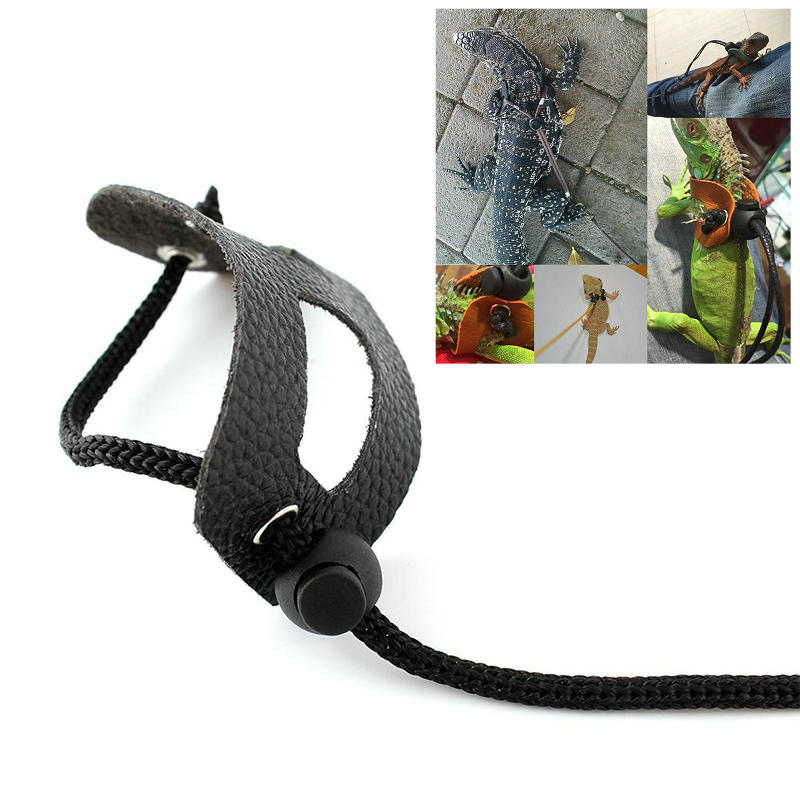 S/M/L Leather Adjustable Reptile Lizard Harness Leash Collar Reptile Pet Outdoor Small Animals Walking Harness Traction Rope