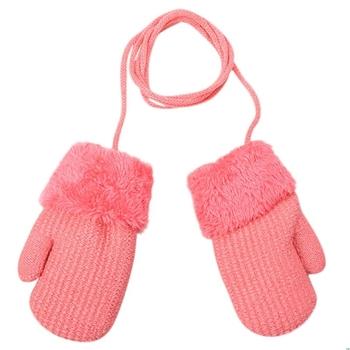 Zimowe Outdoor Boys Baby dziewczyny rękawiczki z dzianiny ciepłe liny pełne mitenki rękawiczki dla dzieci wiszące rękawiczki na szyję dla dzieci tanie i dobre opinie NoEnName_Null CN (pochodzenie) COTTON knit GEOMETRIC Unisex Gloves Free Size About Suit for 2-4 Years kids 1 pair Gloves
