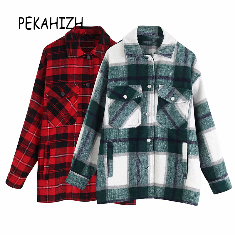 Autumn Long Sleeve Blouse Boho Clothing Women Plaid Shirt Korean Blouse Plaid Shirt Women 2019 Streetwear Coats Female