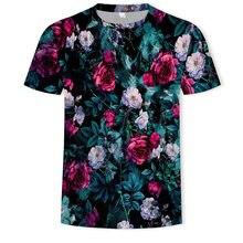Harajuku Hip Hop tshirt Fashion Rose floral tshirt men roman