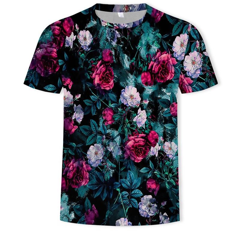 Harajuku Hip Hop Tshirt Fashion Rose Floral Tshirt Men Romantic Design Short Sleeve Casual Flower Print Guns N Roses T Shirt