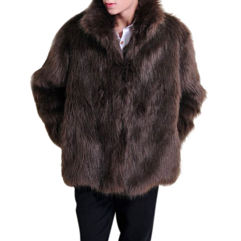 Men's Faux Leather Luxury Trendy Sleeve Jacket Solid Features Full Fur Artificial Coat Long Parker