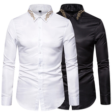 New Fashion Mens Shirt Long-sleeved Embroidered Cotton Hawaiian Slim Ou Code
