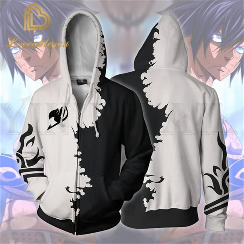 Anime Fairy Tail Sweatshirts Men And Women Zipper Hoodies Lucy 3d Print Hooded Jacket For Boys Heatblast Harajuku Streetwear