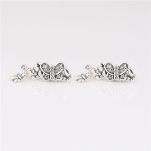 Image 1 - 925 sterling silver earrings new cz Sparkling Butterfly Stud Earrings for ladies birthday gifts