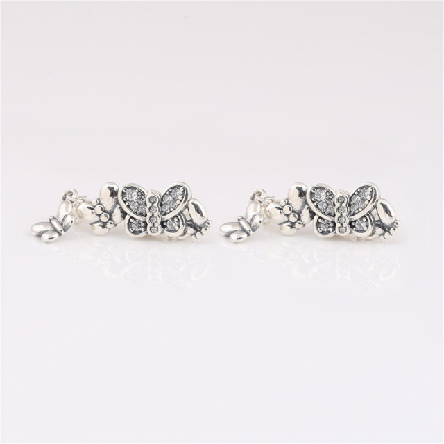 925 sterling silver earrings new cz Sparkling Butterfly Stud Earrings for ladies birthday gifts