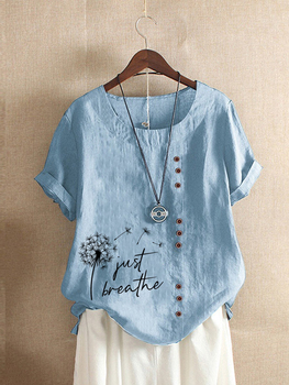 New Summer Fashion Casual Print Vintage Round Neck  Short Sleeve T-shirts For Women Plus Size Loose Blouse Tops  S-5XL 1