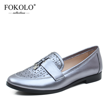 FOKOLO 2020 New Loafers Round Toe Genuine Leather Flat Shoes Women Spring and Autumn Fashion Handmade Sheepskin Ladies Shoes P16