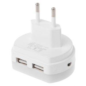 LED Night Light With Dual USB Wall Charger Plug Dusk to Dawn Sensor Wall Lamp EU Plug