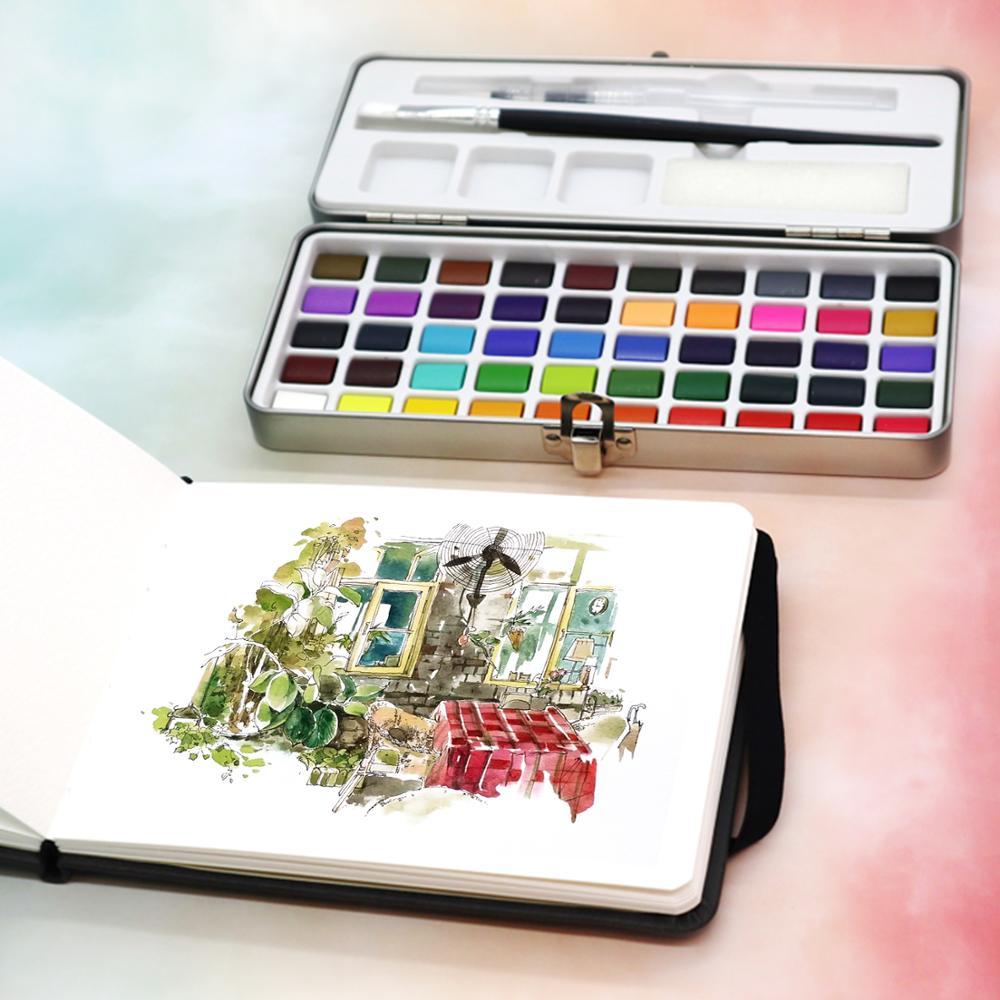 SeamiArt, 50/72/90 цветов, однотонные акварельные краски в наборе, Набор цветных красок, портативная металлическая коробка, пигмент цвета воды для начинающих, рисование, водные цветные бумажные принадлежности 3