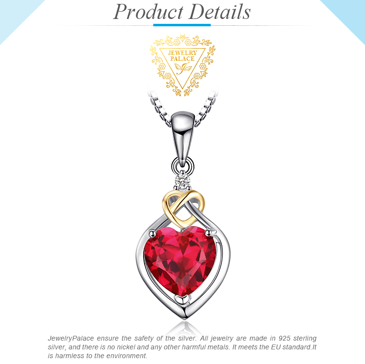Sterling Silver 6.06 ct Created Emerald Heart Shaped Gemstone Pendant Necklace