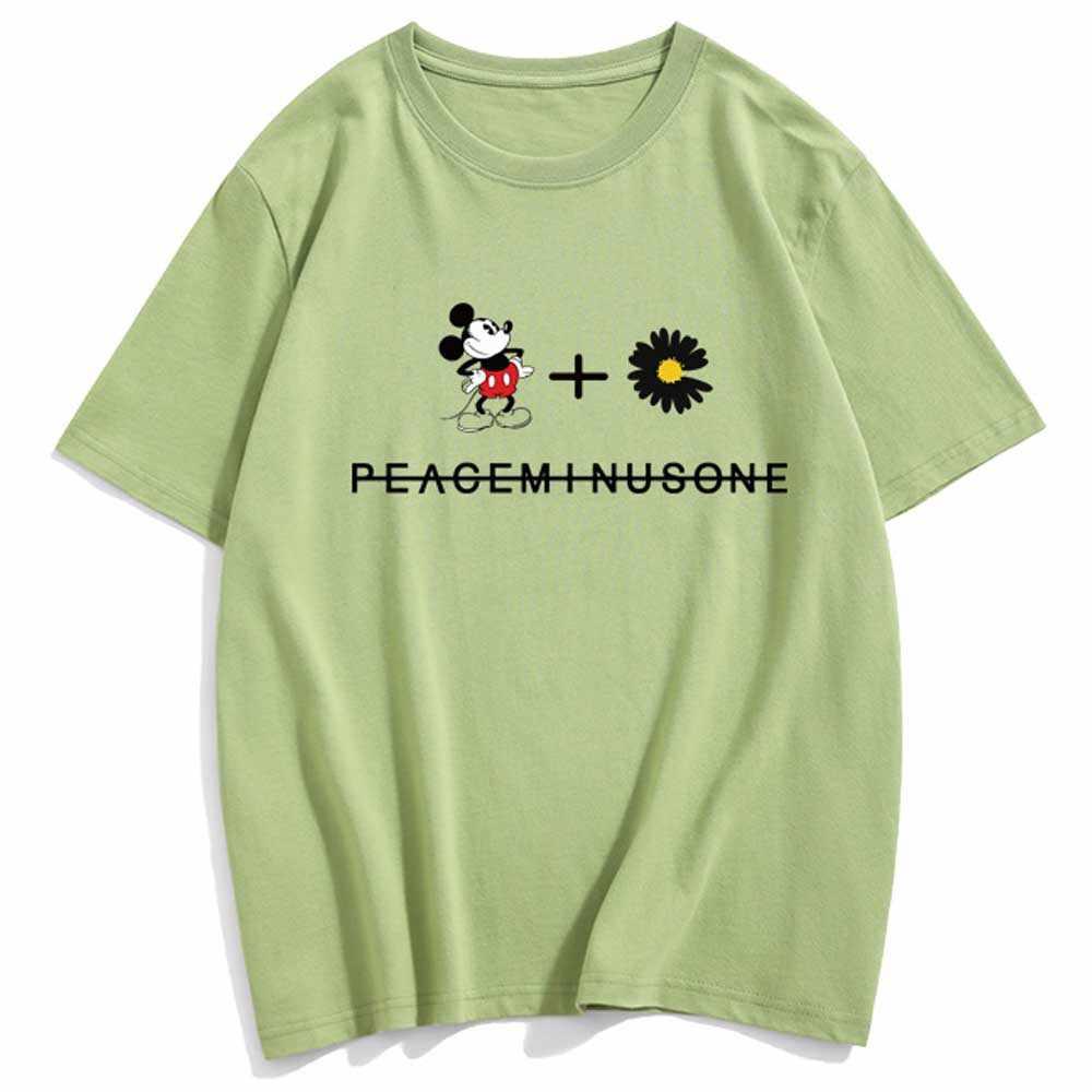 Disney chique moda mickey mouse carta floral impressão dos desenhos animados camiseta feminina o-pescoço pulôver manga curta algodão camisetas 10 cores