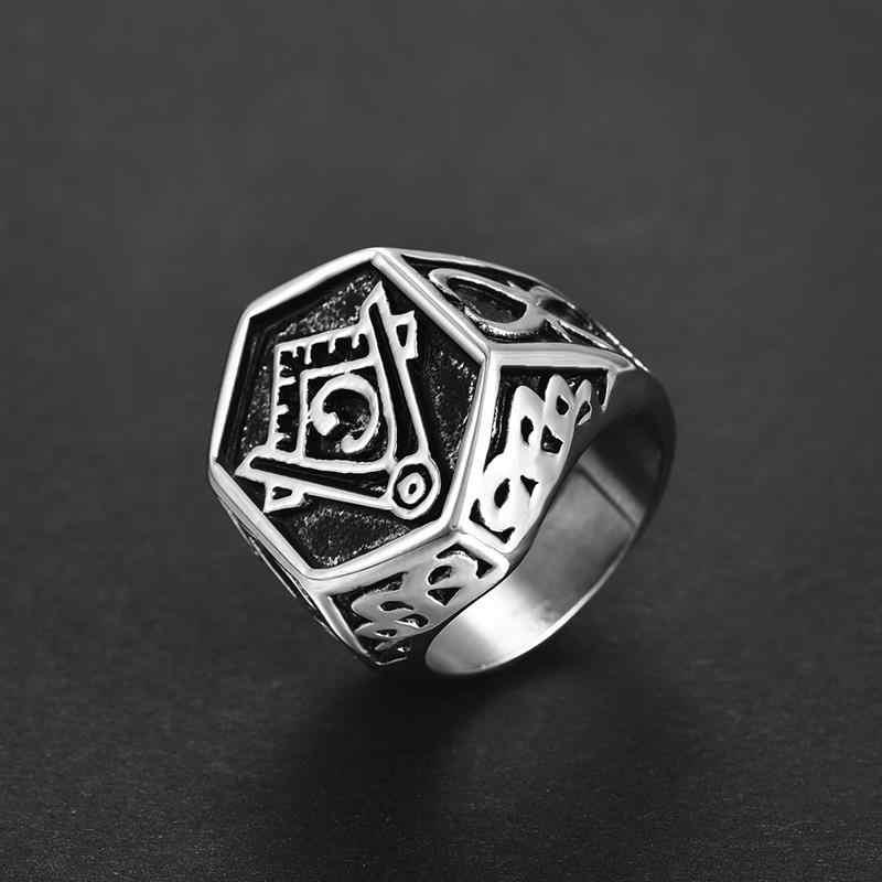 Jiayiqi VINTAGE แหวนผู้ชายสแตนเลสสตีลฟรี Mason Freemasonry อิฐ AG Retro Punk เงินทองไทเทเนียมเครื่องประดับชายแหวน